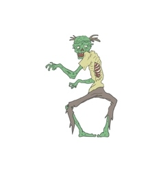 Green Skin Creepy Zombie Outlined Drawing vector image