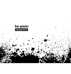 Grunge black ink splattered background vector image