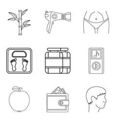 hair care icons set outline style vector image