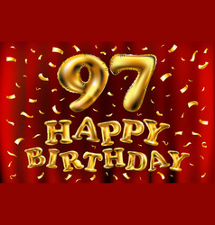 Happy birthday 97th celebration gold balloons and vector