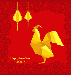 happy chinese new year 2017 of rooster with vector image