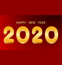 happy new year golden numbers 2020 on red vector image