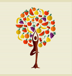 health and fitness concept tree with fruit food vector image