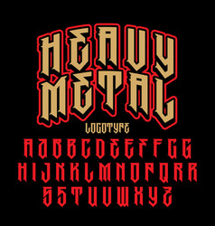 heavy metal alphabet vector image
