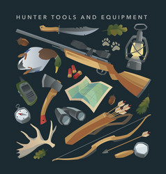 Hunter equipment set vector