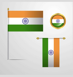 India waving flag design with badge vector