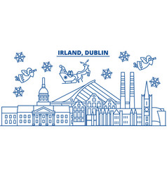 Irland dublin winter city skyline merry vector