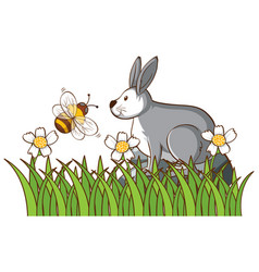 Isolated picture bunny and bee vector