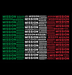 Italy flag mosaic of mission text items vector