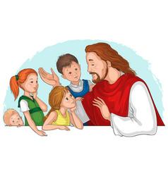 Jesus christ talking to children vector
