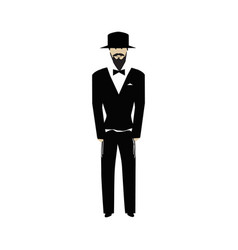 Jewish religious man with a beard wearing hat jew vector