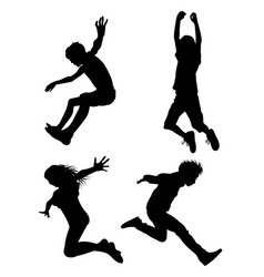 kids jumping silhouette 02 vector image