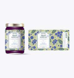 Label packaging jar marmalade pattern blueberries vector