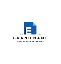 Letter e document logo design vector