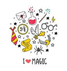 Magic set circle lettering vector