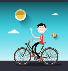 Man on bike sunny day with boy on bicycle vector