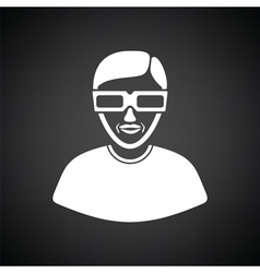 Man with 3d glasses icon vector