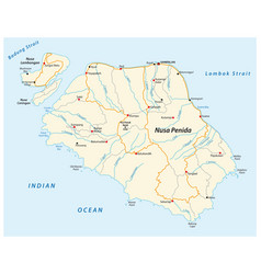 Map indonesian island nusa penida vector