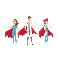 medical superheroes team doctors wear hero capes vector image