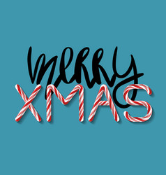 merry xmas creative tag with hand drawn lettering vector image