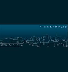 Minneapolis multiple lines skyline and landmarks vector