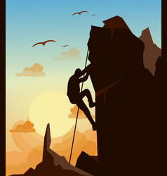 Mountain climbing man on vector