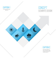 Nature icons set collection of temperature sun vector