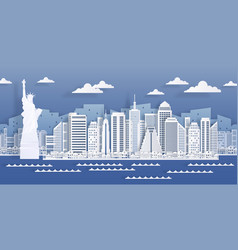 New york paper landmark usa city skyline view vector