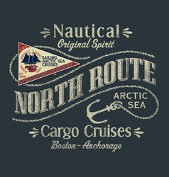 northwest arctic ocean sailboat cargo cruise vector image