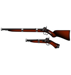 Old rifles and pistols vector