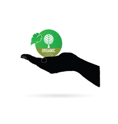 Organic icon green in black hand vector