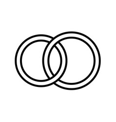 Pair rings marriage rings - line icon vector