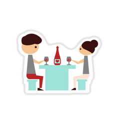 Paper sticker on white background couple romantic vector