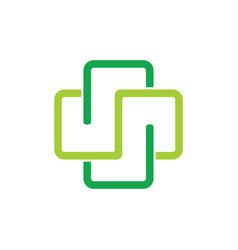 Plus medical linear linked logo vector