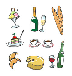 Popular french food and drinks vector