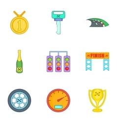 Race and awarding icons set cartoon style vector
