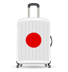 real travel luggage bag with japan flag vector image