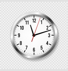 Realistic office clock modern wall round watches vector