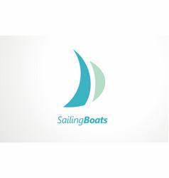 Sailing boats sea sail logo river boating club vector