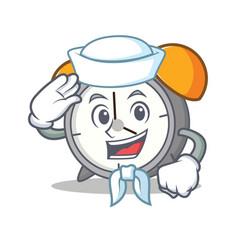 sailor alarm clock character cartoon vector image