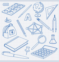 school doodle set of office stationery tools vector image