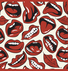 seamless pattern sexy woman lips and mouths vector image