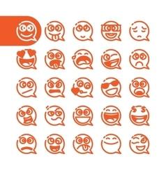 set emoji speech bubble emoticons vector image