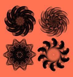 set of four abstract monocolor vortex or rosettes vector image
