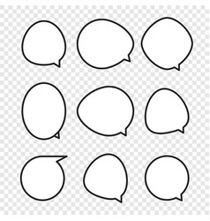 Set of rounded comic speech bubbles vector