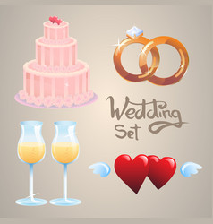 set of wedding icons vector image