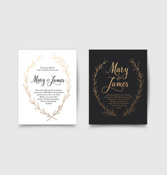 set of wedding invitations with hand drawn laurel vector image