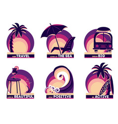 set summer and travel badges with quotes vector image