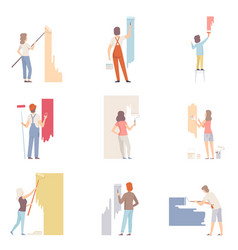 Set with people painting the wall flat vector