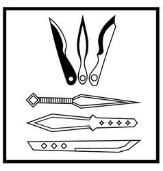 Six monochrome contour throwing knives vector